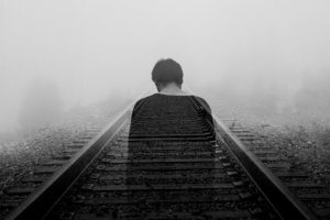 man on railway committing suicide